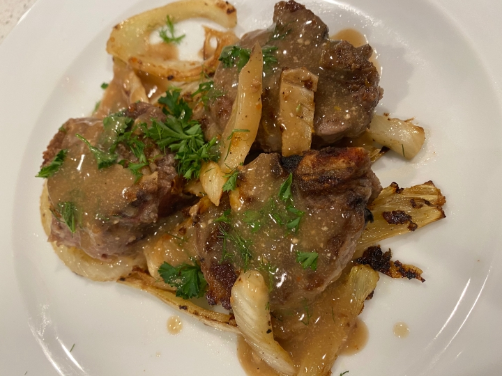 White Wine Marinated Lamb Chops with Roasted Fennel